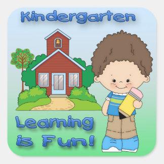 Kindergarten Boy Learning is Fun Square Sticker