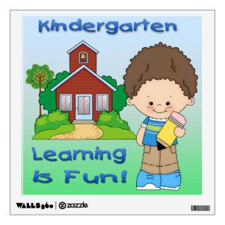 Kindergarten Boy Learning is Fun Square Wall Decal