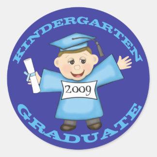 Kindergarten  Boy's Graduation Classic Round Sticker