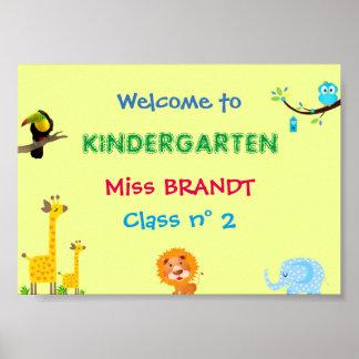 Kindergarten Class, Classroom sign & teacher