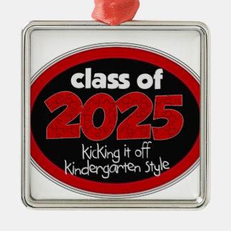 Kindergarten Class of 2025 School Kids Grade Square Metal Christmas Ornament