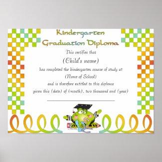 Kindergarten Diploma Poster print
