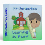 """Kindergarten Ethnic Boy Learning is Fun 1.5"""" Binde Vinyl Binder"""
