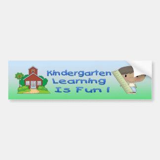 Kindergarten Ethnic Boy Learning is Fun Bumper Stk Bumper Sticker