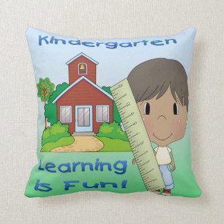 Kindergarten Ethnic Boy Learning is Fun Throw Pillow