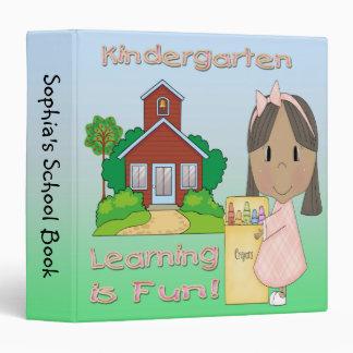 "Kindergarten Ethnic Girl Learning is Fun 1.5"" Bind 3 Ring Binder"