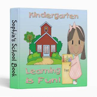 "Kindergarten Ethnic Girl Learning is Fun 1"" Binder"