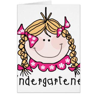 Kindergarten Girl Blond Hair Card