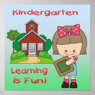 Kindergarten Girl Learning is Fun Poster/Print