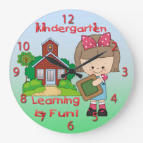 Kindergarten Girl Learning is Fun Round Wall Clock