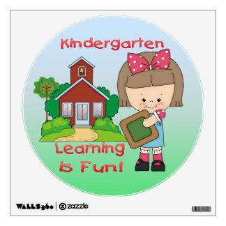Kindergarten Girl Learning is Fun Round Wall Decal