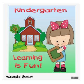 Kindergarten Girl Learning is Fun Sqr. Wall Decal