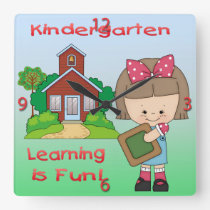 Kindergarten Girl Learning is Fun Square Clock