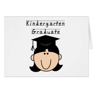 Kindergarten Graduate - Black Hair Girl Tshirts Greeting Card