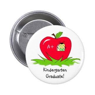 Kindergarten Graduate Red Apple Congratulations Button