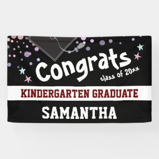 Kindergarten Graduation black Confetti Photo Banner