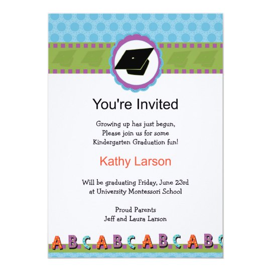 kindergarten graduation invitation zazzle com