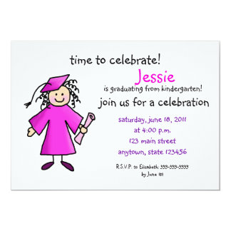 Girls Kindergarten Graduation Invitations Announcements Zazzle