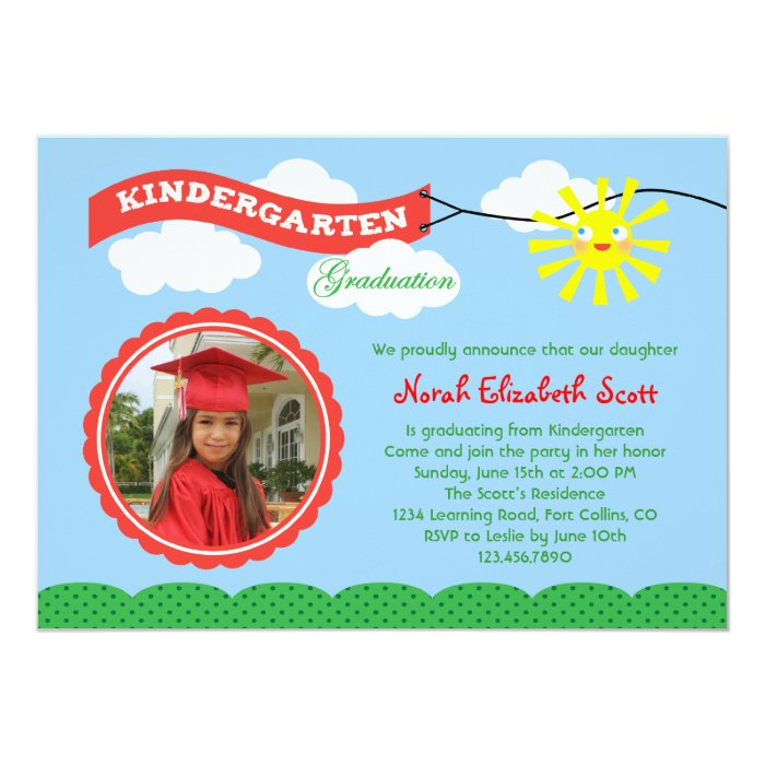 Kindergarten Graduation Photo Invitation