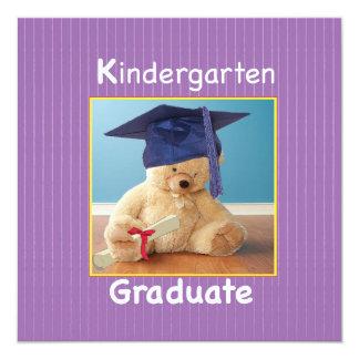 Kindergarten Graduation Teddy Bear on Purple Card
