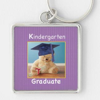 Kindergarten Graduation Teddy Bear on Purple Keychain