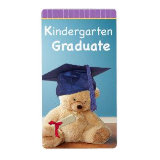 Kindergarten Graduation Teddy Bear on Purple Label