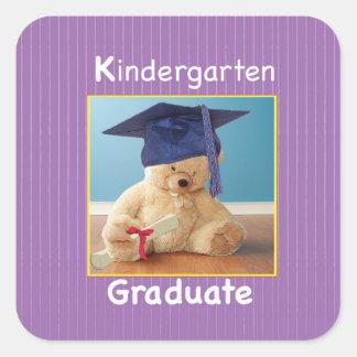 Kindergarten Graduation Teddy Bear on Purple Square Sticker