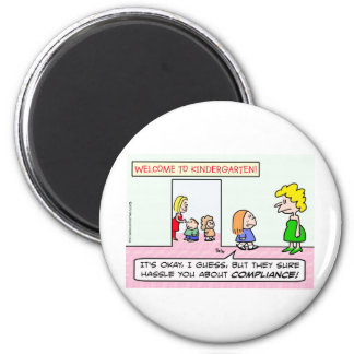 Kindergarten is all about compliance refrigerator magnet