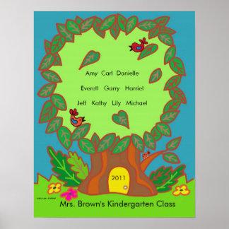 Kindergarten Name Tree by Vera Trembach Poster