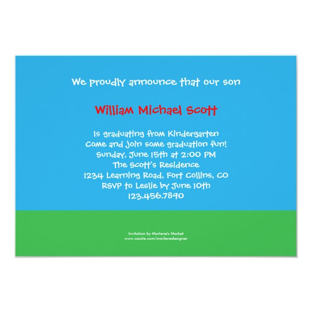 Kindergarten or Preschool Graduation Photo Invitat 5x7 Paper Invitation Card (back side)