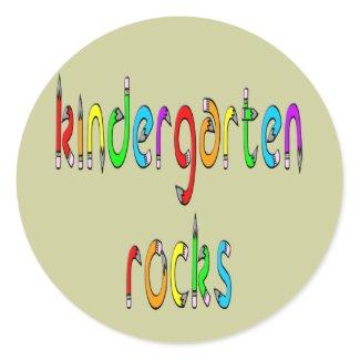 Kindergarten Rocks - Pencil Round Stickers sticker
