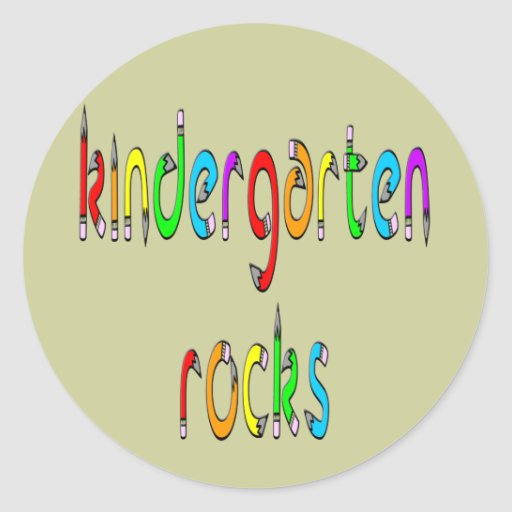 Kindergarten Rocks - Pencil Round Stickers