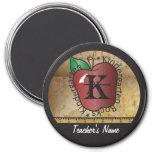 Kindergarten Rocks Vintage Style | Teacher 3 Inch Round Magnet