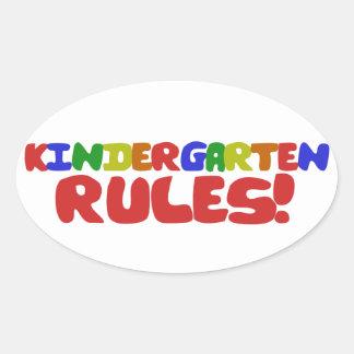 Kindergarten Rules Oval Sticker