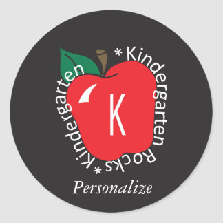 Kindergarten School Teacher Rocks Classic Round Sticker