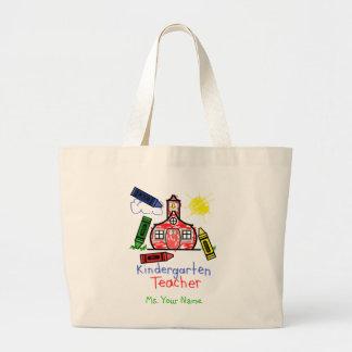 Kindergarten Teacher Bag - Schoolhouse and Crayons