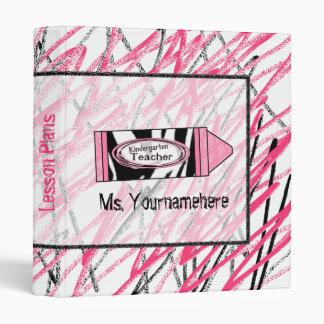 Kindergarten Teacher Binder - Zebra Print Crayon
