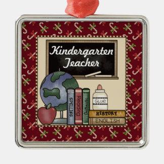 Kindergarten Teacher Christmas Keepsake Square Metal Christmas Ornament