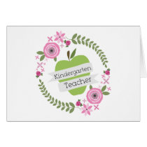 Kindergarten Teacher Green Apple Floral Wreath Card