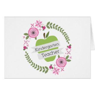 Kindergarten Teacher Green Apple Floral Wreath Greeting Card