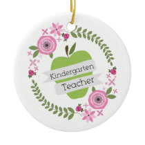 Kindergarten Teacher Green Apple Floral Wreath Ceramic Ornament