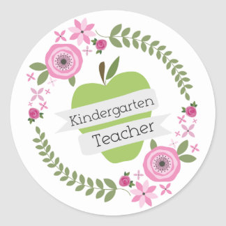 Kindergarten Teacher Green Apple Floral Wreath Sticker
