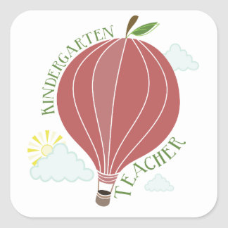 Kindergarten Teacher Hot Air Balloon Apple Square Sticker