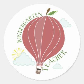 Kindergarten Teacher Hot Air Balloon Apple Round Stickers