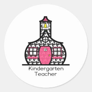 Kindergarten Teacher Houndstooth Schoolhouse Sticker