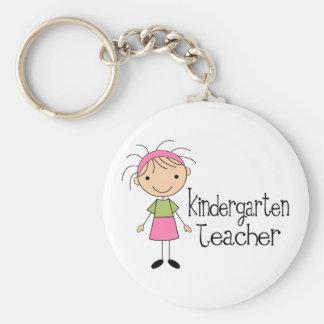 Kindergarten Teacher Basic Round Button Keychain