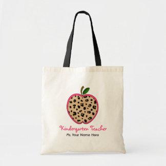 Kindergarten Teacher Leopard Print & Pink Apple Budget Tote Bag