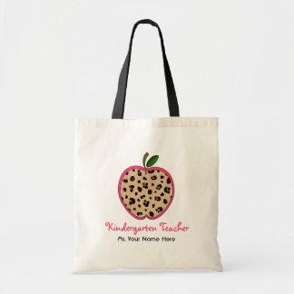 Kindergarten Teacher Leopard Print & Pink Apple Tote Bag