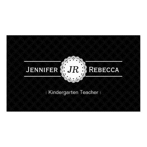 Kindergarten Teacher - Modern Monogram Black Business Card Templates