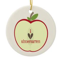 Kindergarten Teacher Ornament - Red Apple Half